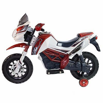Kids Dirt Bike Motorcycle Ride On Toy Electric 12V With Training Wheels - Red