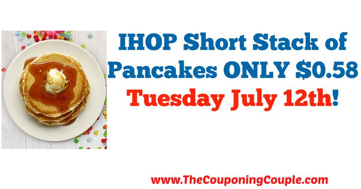 WOOOHOOO ~ Cheap breakfast, lunch or dinner option!! IHOP Short Stack of Pancakes ONLY $0.58 Tuesday July 12th!  Click the link below to get all of the details ► http://www.thecouponingcouple.com/ihop-short-stack-of-pancakes-only-0-58-tuesday-july-12th/ #Coupons #Couponing #CouponCommunity  Visit us at http://www.thecouponingcouple.com for more great posts!