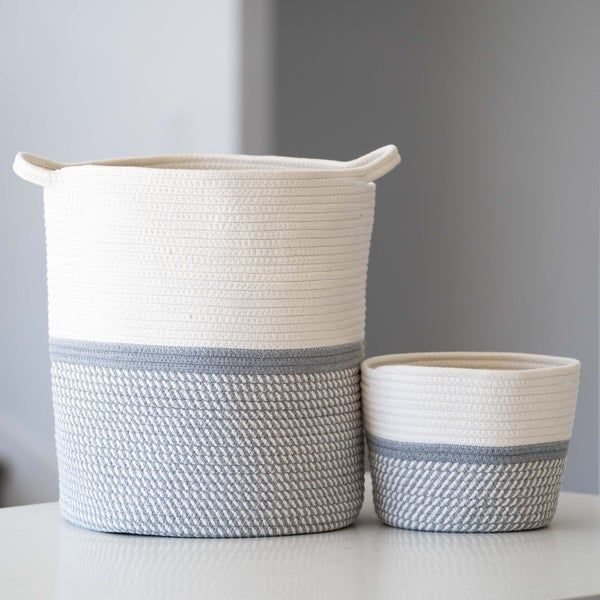 2pc Large Blanket Basket For Nursery Or Living Room Woven Etsy In 2020 Blanket Basket Woven Baskets Storage Nursery Storage Baskets #storage #baskets #living #room