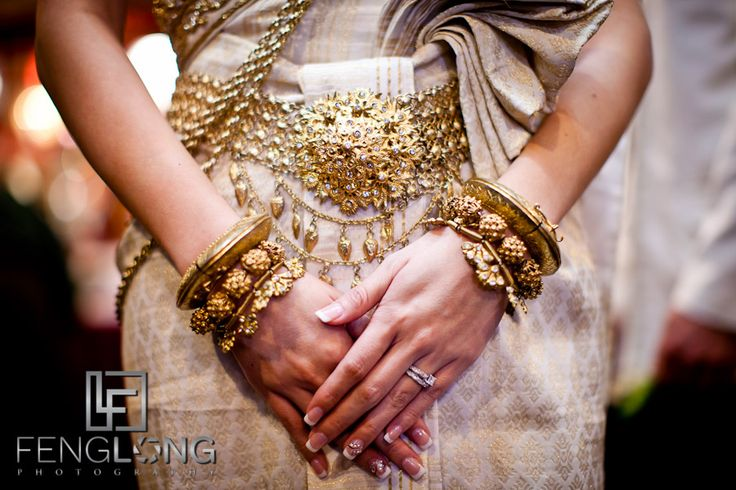 Love the intricate details on the fabric and accessories. #Khmer wedding