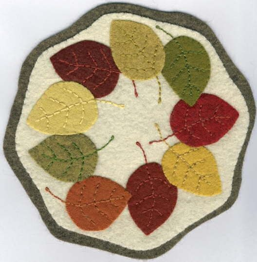 wool penny rugs | Wool Penny Rugs / Autumn Leaves Wool Penny Rug
