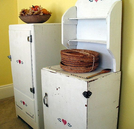 Vintage wooden icebox refrigerator dry sink set