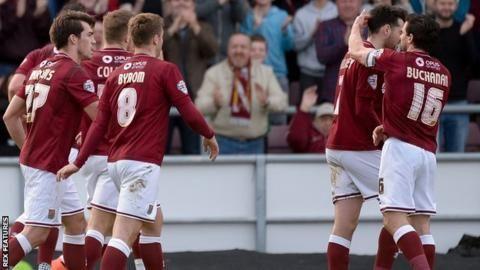 Northampton Town's players celebrate