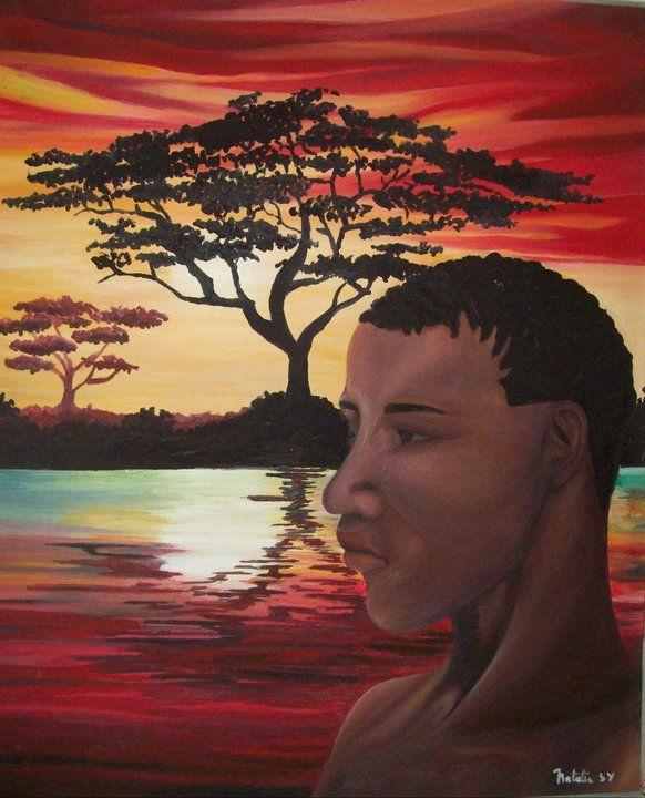 ocaso en África, óleo