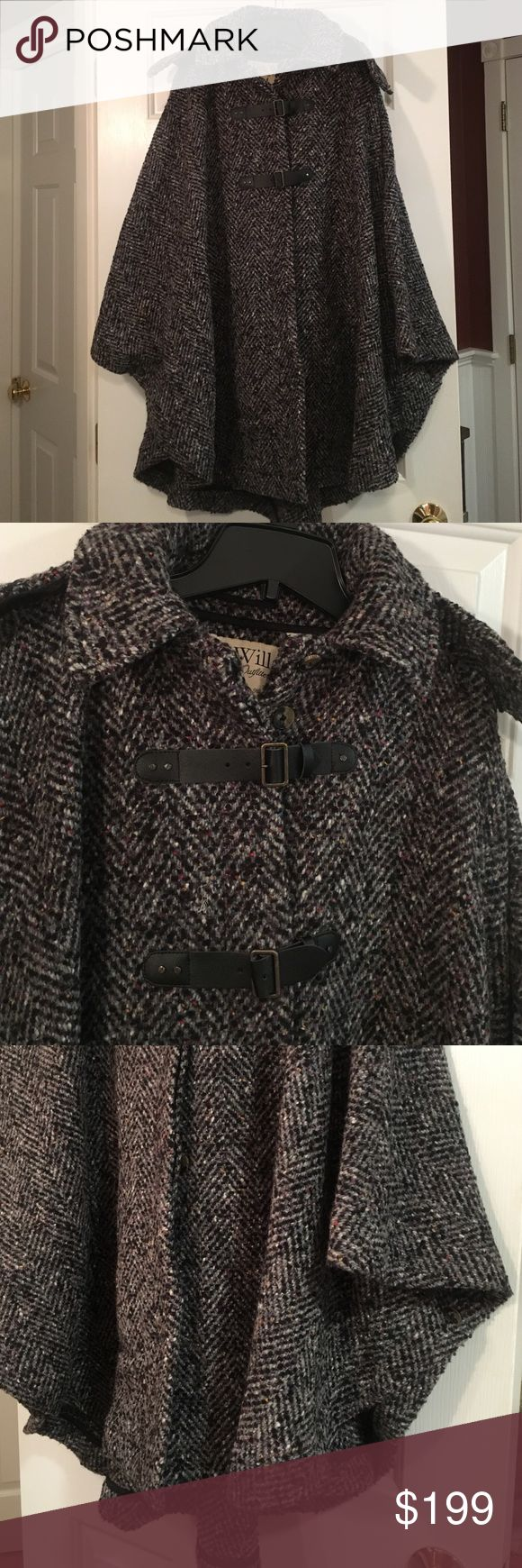 """New Jack Wills charcoal gray tweed cape New Jack Wills charcoal gray wool tweed cape size S/M. This is a gorgeous and substantial cape. It is unlined, has removable hood. Button side for creating arm hole and button front with leather fasteners as well. This was bought two years ago and is too big for me now. It has been stored and never worn except to try on twice. No tags. It is a heavy cape. I t seems to be best for a medium. May even fit a large well. I am 5'2"""" and slight build. Charcoal…"""