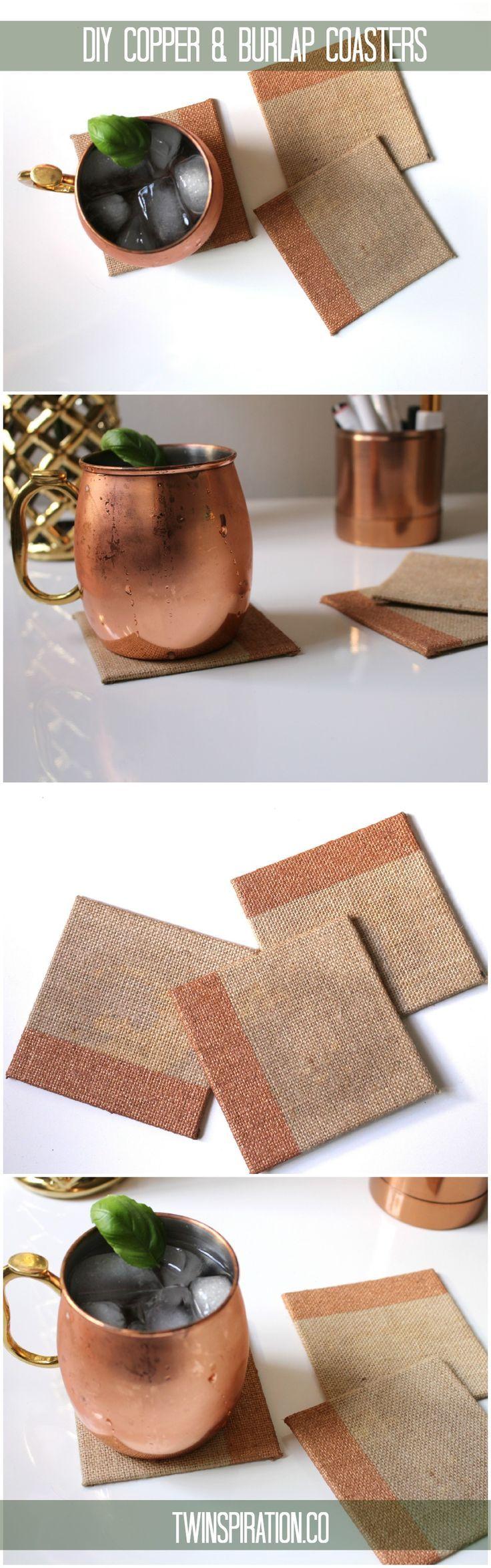DIY Copper and Burlap Coasters by Twinspiration at http://twinspiration.co/copper-burlap-coasters/ | DIY Coaster Ideas
