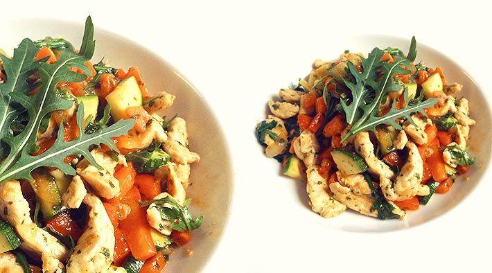 Low Carb Rezept für eine Low-Carb Zucchini-Putenpfanne. Wenig Kohlenhydrate und einfach zum Nachkochen. Super für Diät/zum Abnehmen.