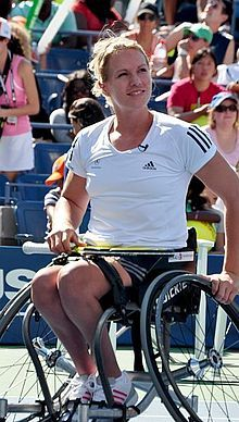 Esther Mary Vergeer (Dutch pronunciation: [ˈɛstər vərˈɣɪːr]; born 18 July 1981 in Woerden) is a retired Dutch wheelchair tennis player. Combining singles and doubles, she has won 42 Grand Slam tournaments, 22 year-end championships and 7 Paralympics titles. Vergeer was the world number one wheelchair tennis player from 1999 until her retirement in February 2013