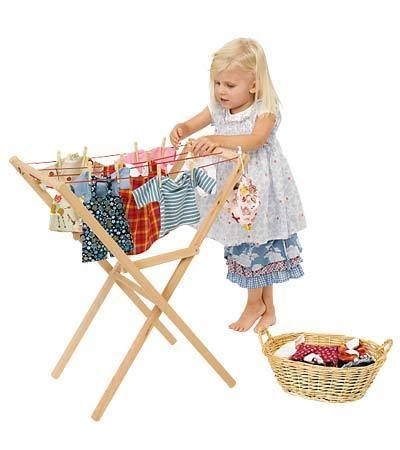 "Adorable kid's play ""house"" cleaning supplies (clothes line, ironing board and broom caddy)"
