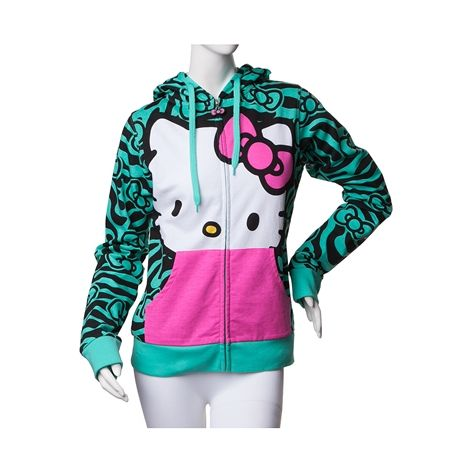 Shop for Womens Hello Kitty Zebra Hoodie, Mint, at Journeys Shoes. Youll look as adorable as Hello Kitty in the new Hello Kitty Zebra Hoodie.  Featuring a super soft zebra print, with hood adorning 3D plush Kitty ears and pink applique bow, full zip front, and complimentary pink front pockets.