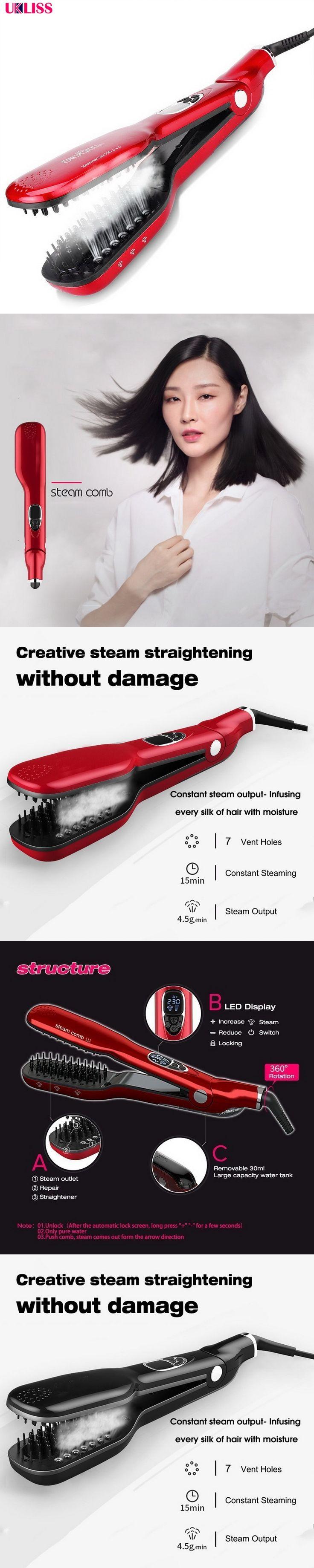 Professional Hair Straighteners Ceramic Hair Straightener Brush Comb Flat Iron Tourmaline thermoregulator fast hair straightener