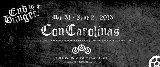 Will you be attending ConCarolinas, The Carolinas largest Science Fiction, Gaming, Fantasy Convention? ConCarolinas will be held May 31-June 2 at the Hilton University Place Hotel in Charlotte, NC! We will be collecting food and funds for our annual ConDrive!