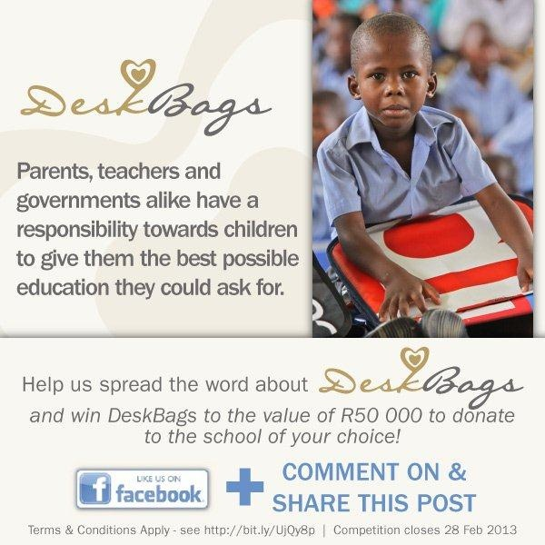 Parents, teachers and governments alike have a responsibility towards children to give them the best possible education they could ask for.  **Help us spread the word about DeskBags and win DeskBags to the value of R50,000 to donate to the school of your choice!