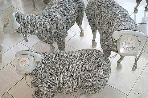 phone sculpture sheep