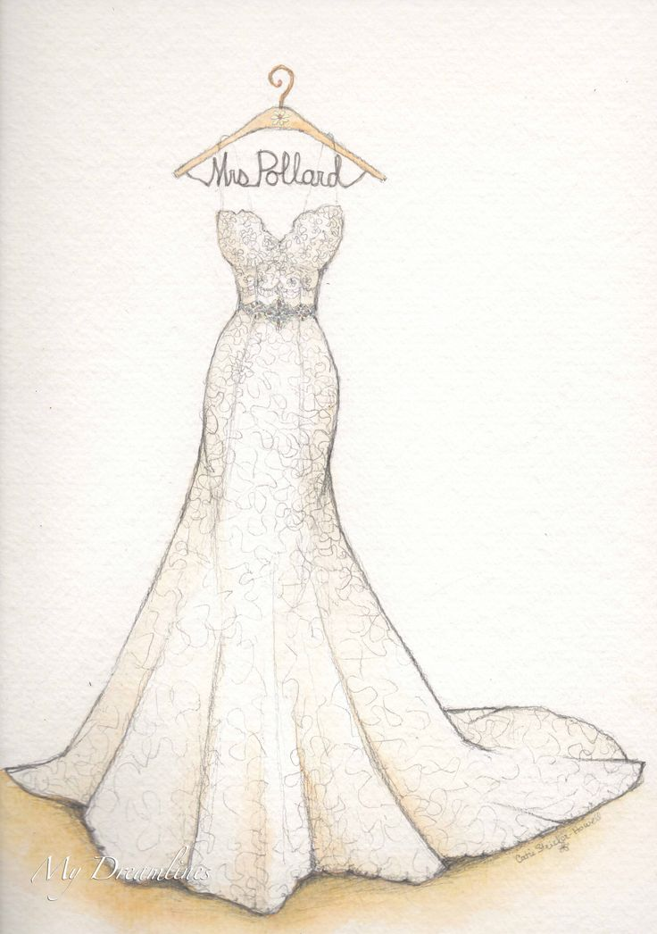 Wedding dress sketch for first anniversary.  Sketch by Catie Stricker-Howell #catiethesketchlady
