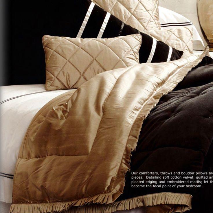 Luxurious pewter silk and black velvet comforter -- fully reversible !!