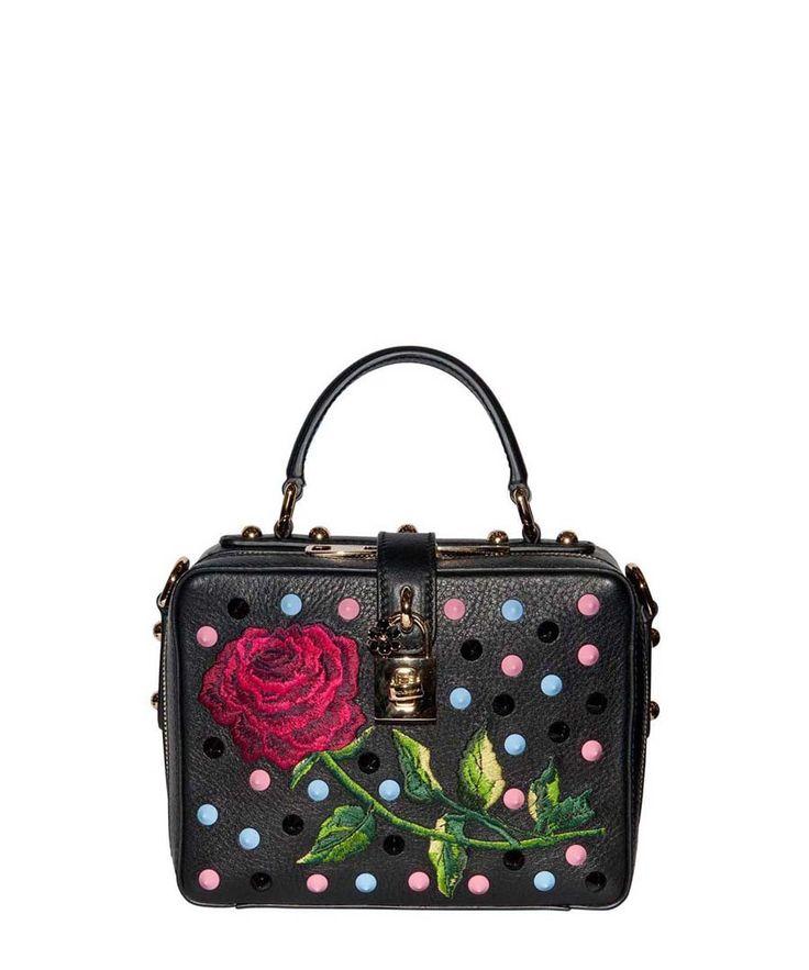 Rosary black studded leather grab bag Sale - Dolce & Gabbana