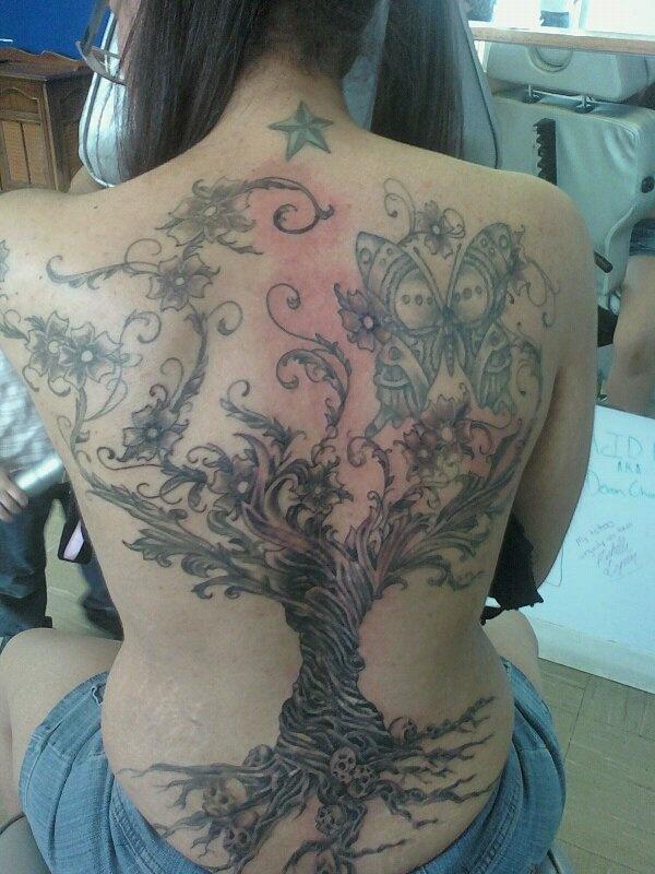 Steampunk tattoo back