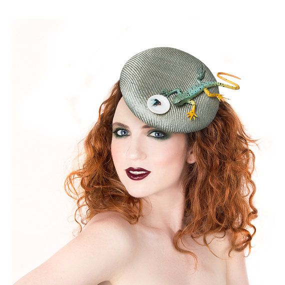 Silver Fascinator with Lizard Miniatures by MaorZabarHats on Etsy
