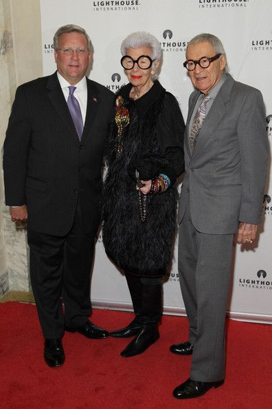 (L-R) Mark G. Ackermann, Iris Apfel and Carl Apfel attend the kick-off dinner for Lighthouse International's POSH Fashion sale at the Oak Ro...