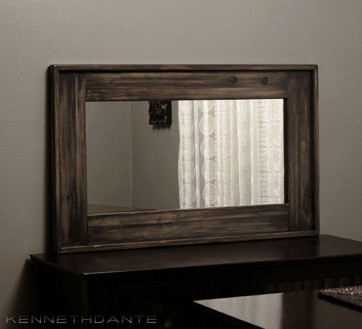 22 X 36 Mirror Part - 45: Distressed Rustic Wood Mirror Streaky Weathered Farmhouse Barn Black Brown  Gray 36 X 22