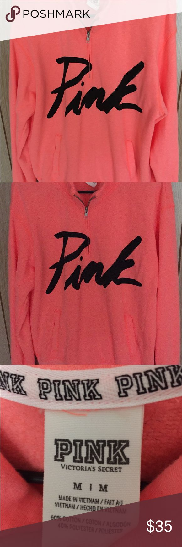 PINK Victoria secret half zip sweater Pink Victoria Secret half zip sweater  Hot pink with black lettering  Size M  In good condition/looks new  Worn once Victoria's Secret Sweaters