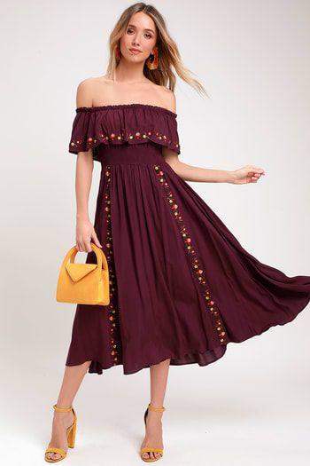 c23c516ca Wynnet Plum Purple Embroidered Off-the-Shoulder Midi Dress ...