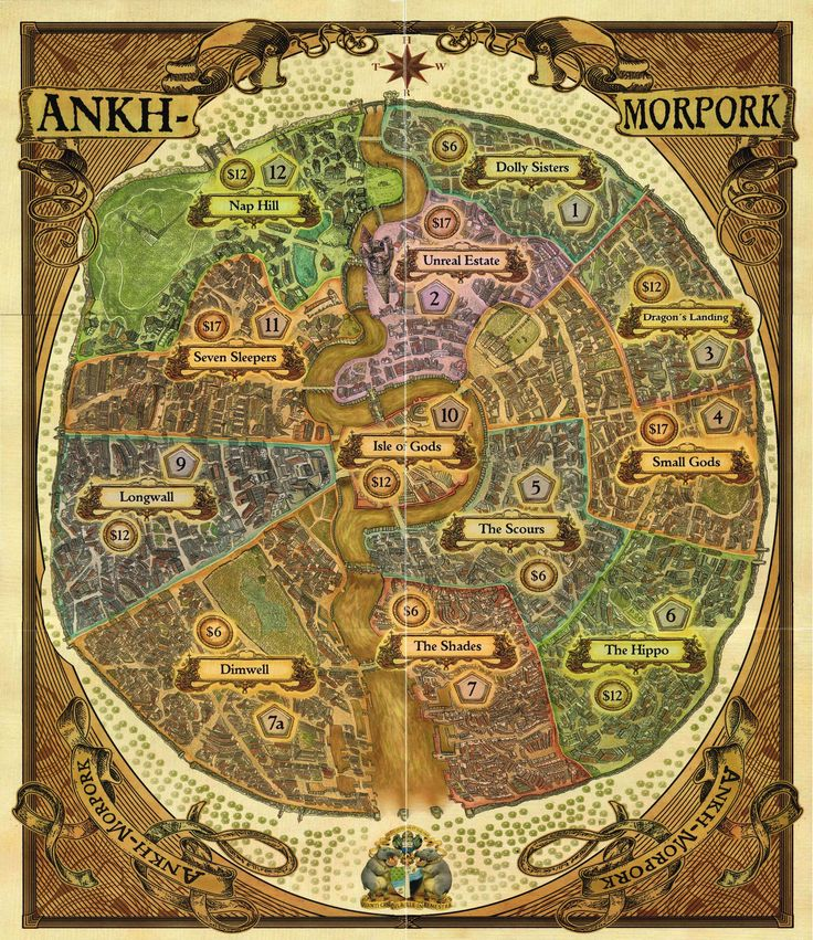 Discworld: Ankh-Morpork map. I love Terry Prachet books. Such a fun world!