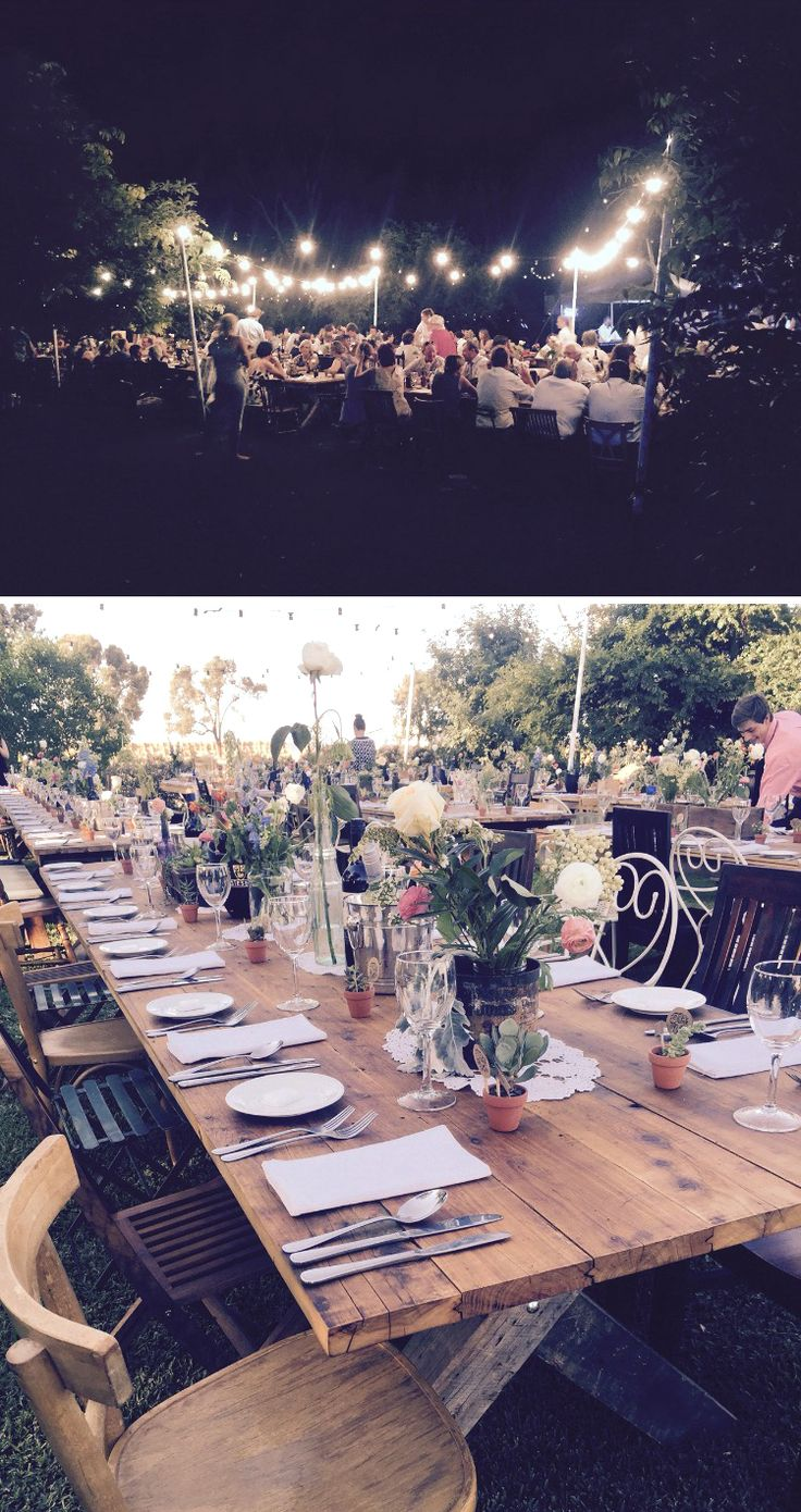 Jarryd & Rheanna's Wonderful Wedding! A beautiful wedding was held on Saturday at Coonamble. The setting was fantastic, on long tables out in the garden with succulents on the table and overhead lighting adding to the rustic garden. #rusticwedding #catering #springwedding #eatyourgreens #eyg2015