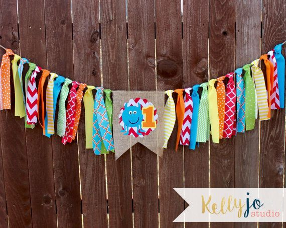 Monster Themed First Birthday Burlap & Bright by KellyJoStudio