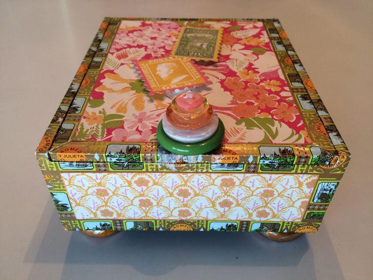 Summer Fun/ Altered Cigar Memory Box Jewelery Embellished Keepsake Decorative Altered Cigar Box by OutsideMyBox on Etsy https://www.etsy.com/listing/261897542/summer-fun-altered-cigar-memory-box