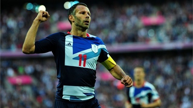 Ryan Giggs celebrates scoring the opening goal for Team GB during the men's Football first round Group A Match between Great Britain and United Arab Emirates on Day 2 of the London 2012 Olympic Games at Wembley Stadium on 29 July.