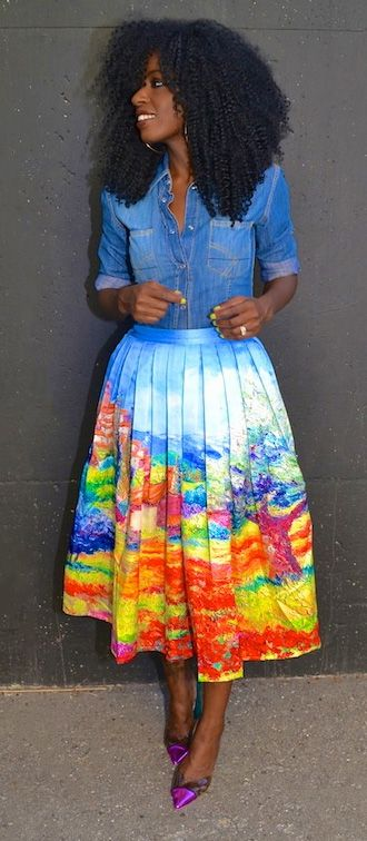 Bright midi skirts <3 -- totally went ahead and bought this beauty's 'sister'....hurry up and arrive cuz summer's almost over!