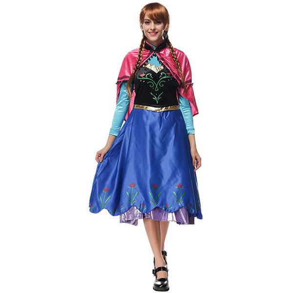 Anna Frozen Costume Adult, Womens Anna Costume Blue ($60) ❤ liked on Polyvore featuring costumes, blue, adult costumes, lady costumes, sexy ladies costumes, blue halloween costume and sexy adult costumes