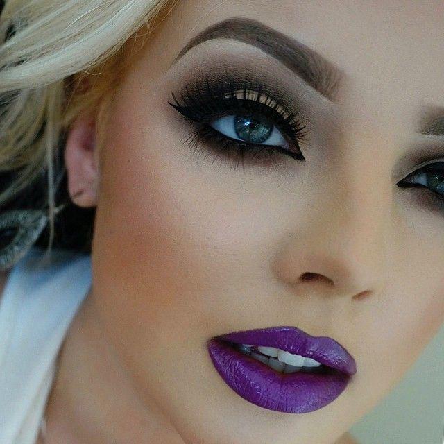 Purple lip and smokey eye makeup ♥