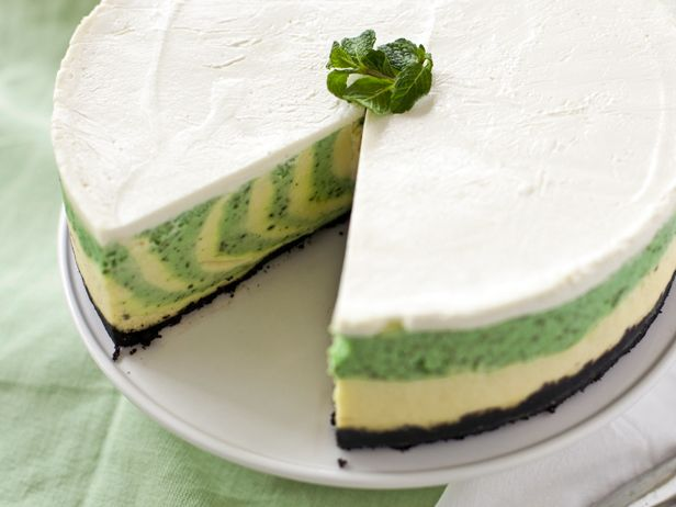 Mint Cheesecake with Chocolate Crust for St. Patrick's Day from @Cooking Channel