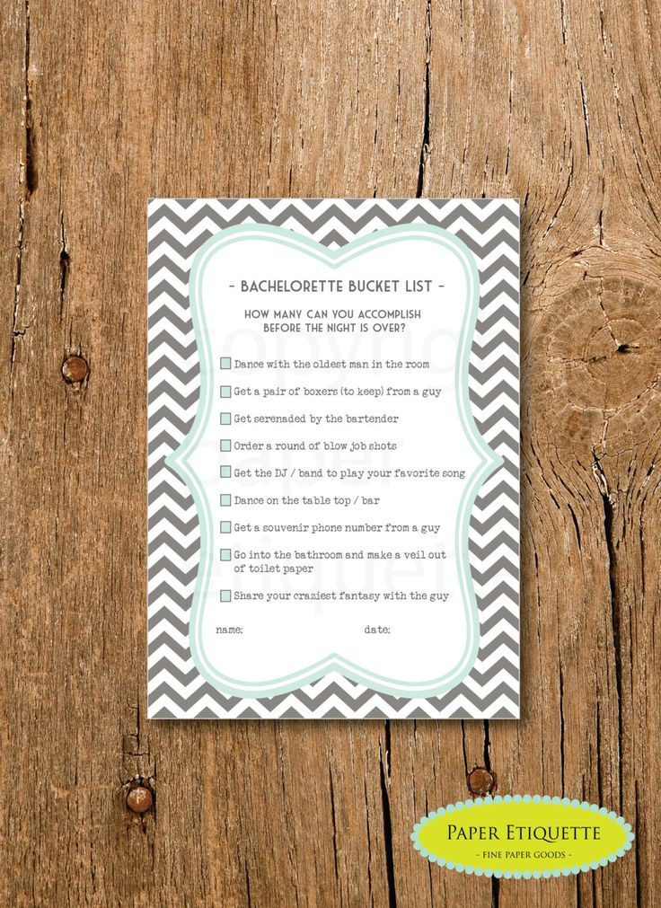 INSTANT UPLOAD Bachelorette Bucket List Shower Game - Mint and Gray Chevron - Print Your Own by PaperEtiquette on Etsy https://www.etsy.com/listing/166636483/instant-upload-bachelorette-bucket-list