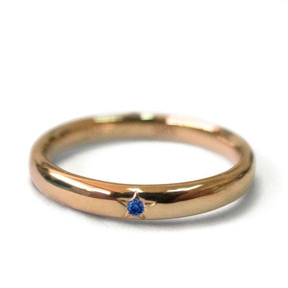 Saffier ring , 14k gouden ring , Rosé goud , Trouwring, Handwerk ring , Unieke ring , Art Nouveau, Verlovingsring, Eenvoudige ring