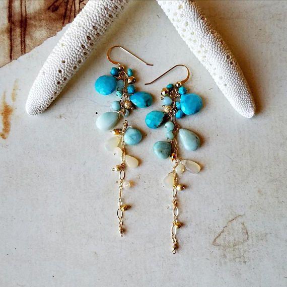 Lange Larimar Ohrringe äthiopischer Opal Ohrringe lange Opal