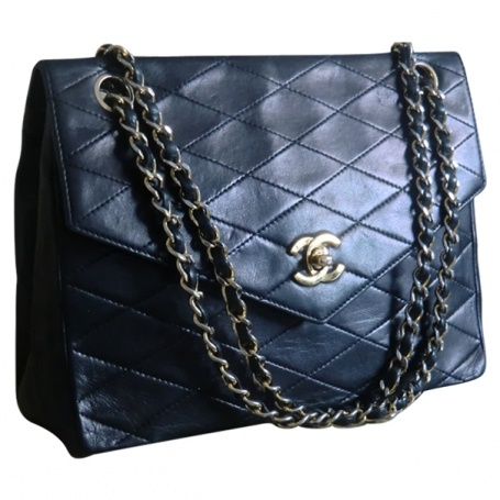 2 55 bag CHANEL Blue in Leather All seasons - 334456