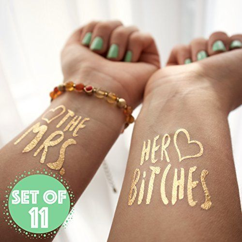 [12 Pack] Bachelorette Bride and Bride Tribe Temporary Tattoos - Metallic Shiny Gold Flash Tattoos - Bachelorette Party Ideas Accessories Favors