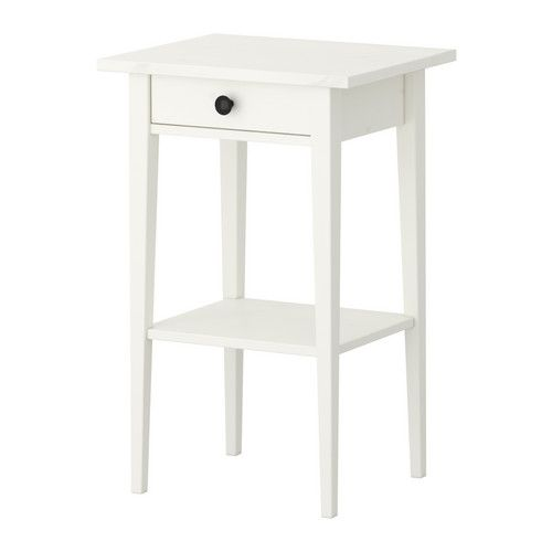 HEMNES Bedside table IKEA (white stain; $99) Smooth running drawer with pull-out stop. Made of solid wood, which is a hardwearing and warm natural material.