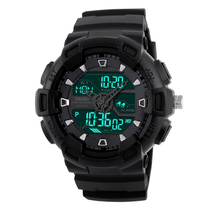 black SKMEI 2016 New 3 Time Male Big Dial Digital Wristwatch - Tomtop.com
