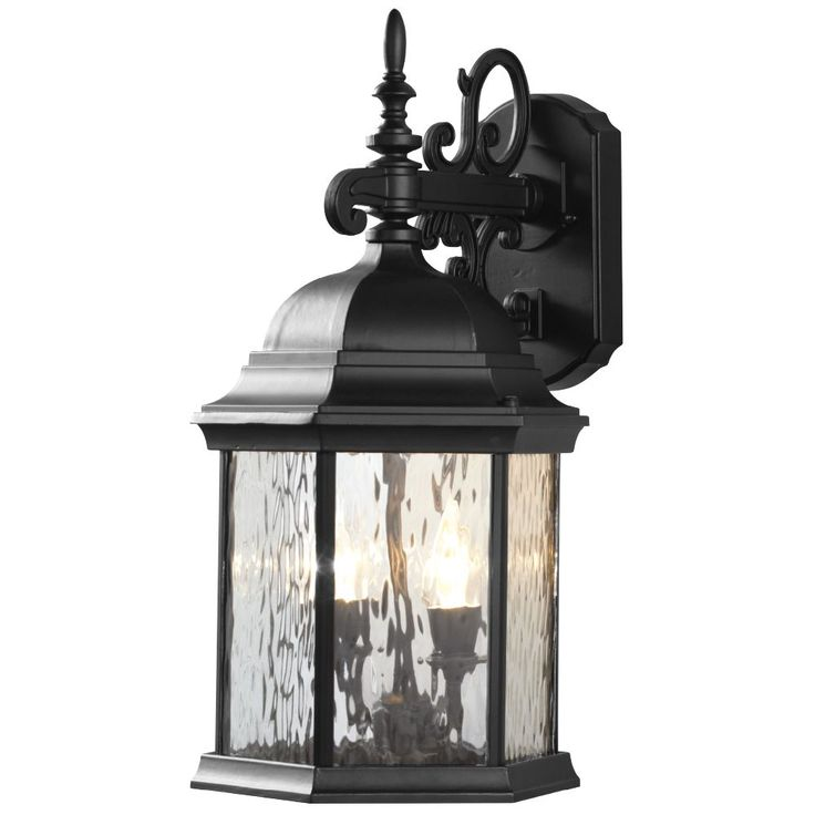 12W 2-Light Matte Black LED Outdoor Wall Lantern with Water Glass Panels