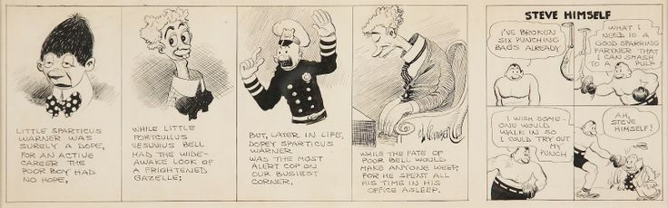 "Original art by Rube Goldberg, circa early 1920s from his ""A Sad, Sad Story Series."" Rube specialized in caricaturing the human face as this strip, a stellar example, shows."