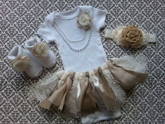 Baby Girl, Take Home Outfit,  Floral Socks, Headband, Fabric TUTU Skirt, Burlap & Lace, Ivory Flowers, Pearl Necklace, Burlap Headband