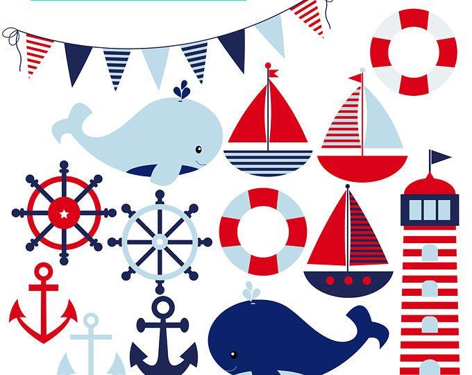 Clipe Náutico do menino - conjunto de barcos, âncoras, farol, baleias, de uso pessoal BANDEIRA, uso comercial, download imediato