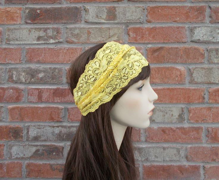 Yellow Headband, Gold Headband, Lace Headband, Lace Headwrap, Stretch Lace Headband, Stretchy Headband, Headbands for Women,  Teen Headbands by foreverandrea on Etsy