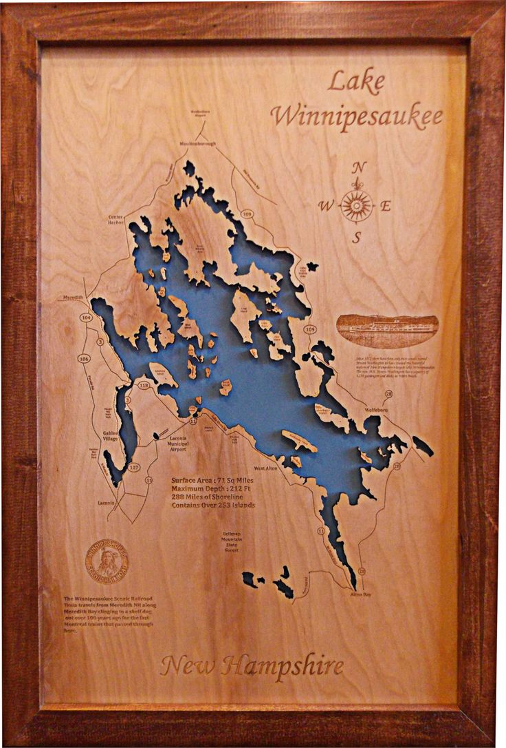 Wood Laser Cut Map of Lake Winnipesaukee