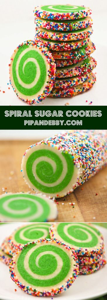 Spiral Sugar Cookies | These cookies are so fun! Use different colors to match your occasion.